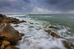 When waves painting. Stunning long exposure day seascape royalty free stock photography