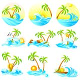 Waves with Palm Tree stock illustration