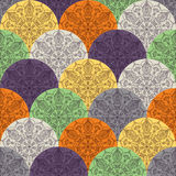 Waves pattern with circular ornaments Stock Photography