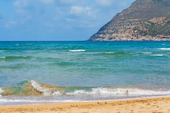Waves in Porto Ferro. Beach in Sardinia Stock Photos