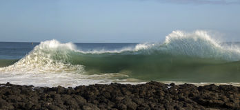 Waves pounding on basalt rocks   at Ocean Beach Bunbury  Western Australia Stock Photography