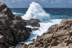 Waves pounding the coastline at Capo Testa Sardinia. Italy Royalty Free Stock Photos