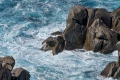 Waves pounding the coastline at Capo Testa Sardinia. Italy Stock Images