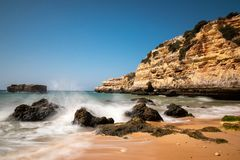 Waves at Praia de Albandeira royalty free stock image