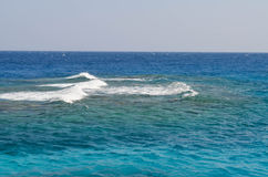Waves on Red Sea horizon. Blue clear water Stock Photography