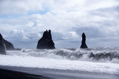 Waves at Reynisdrangar in Vik Stock Photos