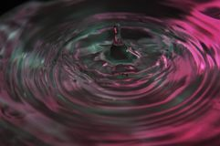 Waves and Ripples Water Drop. A Single drop of water dropped onto a  ocean of purple and gray colors showing the light ripples circles and waves created by Royalty Free Stock Photography