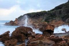 Waves on rocks. Waves hitting against Victorian coast line Stock Image
