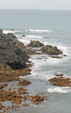 Waves, rocks and ocean in beautiful landscape Royalty Free Stock Image