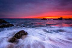 Waves and rocks in the Pacific Ocean at sunset  Stock Photography
