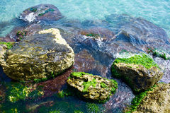 Waves on the rocks. Sea with waves on the rocks Royalty Free Stock Images