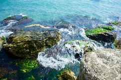 Waves on the rocks. Sea with waves on the rocks Stock Photo