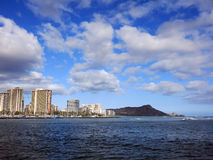 Waves roll in from ocean in front of Ala Wai Boat Harbor Royalty Free Stock Photo
