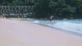 Waves rolled on the sand of Karon Beach stock video footage