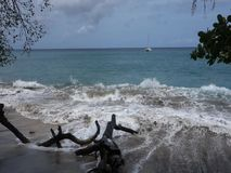 Waves rolling ashore at lower bay, bequia. Foaming water surging onto a beach in the windward islands stock video footage
