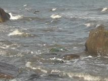 Waves rolling onto the beach. Waves rolling ashore late summer in the north of Denmark stock footage