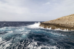 Waves on rough Mediterranean Sea - off the coast of Malta Royalty Free Stock Photo