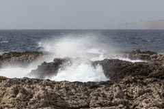 Waves on rough Mediterranean Sea - off the coast of Malta Stock Image