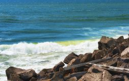 Waves along Columbia`s South Jetty Stock Photo