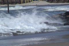 Waves running on coast stock footage