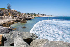 Waves Rush Limestone Coast: South Cottesloe Beach Royalty Free Stock Photos