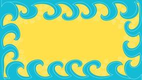 Waves and sand beach border frame Stock Photos