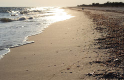 Waves and sand of beach caribbean sea on the soft  sunset light. Stock Image