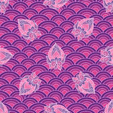 Waves and scallops  seamless pattern in purple Royalty Free Stock Photo