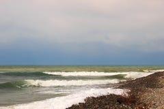 Waves of the sea. The waves of the sea. The area of the Big Sochi, Lazarevskoye, Russia Stock Image