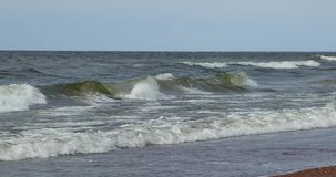 Waves of the sea during the daytime in summer.  stock video footage