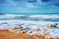 Waves on the sea landscape on a background of blue sky Stock Photos