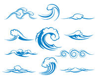 Waves of sea or ocean waves, vector illustration Stock Images