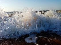 Waves in the sea. Splashing Waves with water drops royalty free stock photography