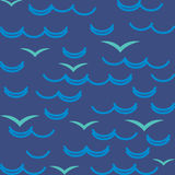 Waves and seagulls in blue colors. Seamless Stock Image