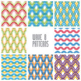 Waves seamless patterns set, colorful geometric vector backgroun Stock Photography