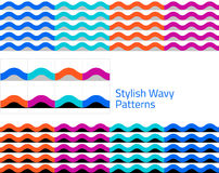 Waves - set of geometric seamless patterns Royalty Free Stock Photography