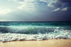 Waves at Seychelles beach Stock Photos