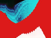 Waves shapes, red background, glitch art, 3d relief colors vector illustration