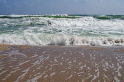 Seascape. Waves show. Summer, sea, sun, beach, holiday, fun - Black Sea, landmark attraction in Romania Royalty Free Stock Photo