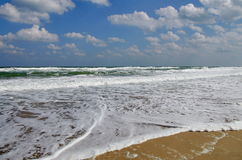 Seascape. Waves show. Summer, sea, sun, beach, holiday, fun and blue sky - Black Sea, landmark attraction in Romania Royalty Free Stock Photography
