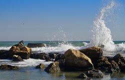 Seascape. Waves show. Summer, sea, sun, beach, rocks, holiday, fun and blue sky - Black Sea, landmark attraction in Romania Stock Photo