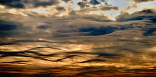 Waves on sky. Strange clouds Royalty Free Stock Image