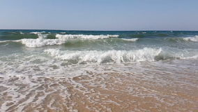 Waves in slow motion in the Mediterranean Sea in Tunisia stock video