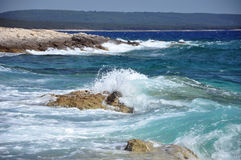 Waves som krossar på en stenig strand Royaltyfri Foto