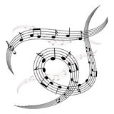 Waves and spirals of music notes and stave. Musical elements for your design Stock Images