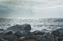 Waves splash onto rocks. On a windy day in December in Mallorca, Balearic islands, Spain Stock Photography