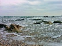 Waves, splashes and rocks. Waves, splashes and coastal rocks Royalty Free Stock Photos