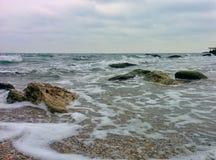 Waves, splashes and rocks. Waves, splashes and coastal rocks Stock Image