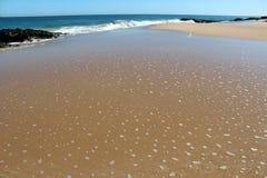 Waves splashing on basalt rocks at Ocean beach Bunbury  Western Australia Stock Image
