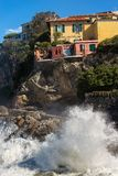 Waves on the Cliff - Tellaro Liguria Italy. Waves splashing on the Cliff in the small village of Tellaro, in the Gulf of La Spezia, Liguria, Italy, Europe Royalty Free Stock Images